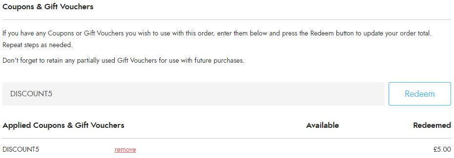 Trekitt Current Discount Codes